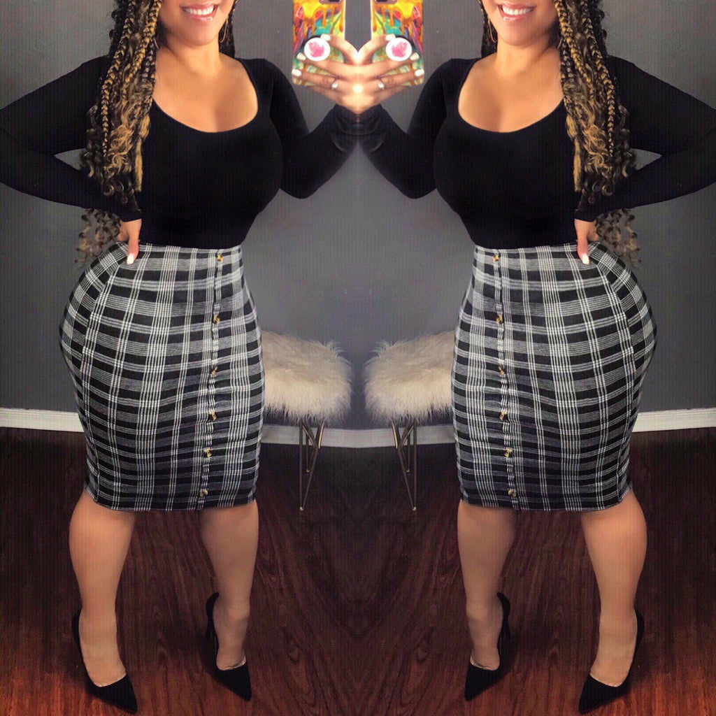 Miss Independent Plaid Pencil Skirt