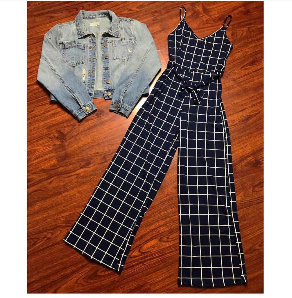Navy Grid Cami Jumpsuit