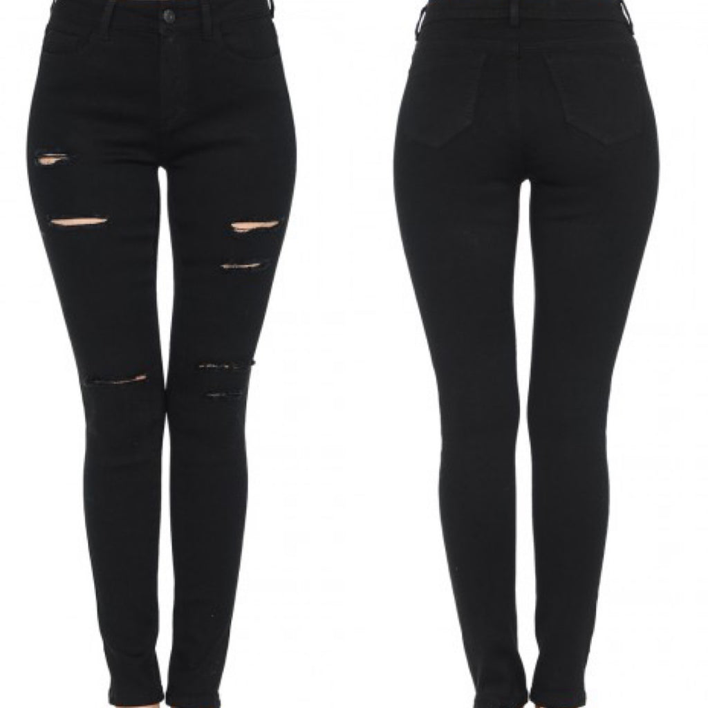 Push Up Butt Lifting Black High Rise Ankle Skinny Jeans