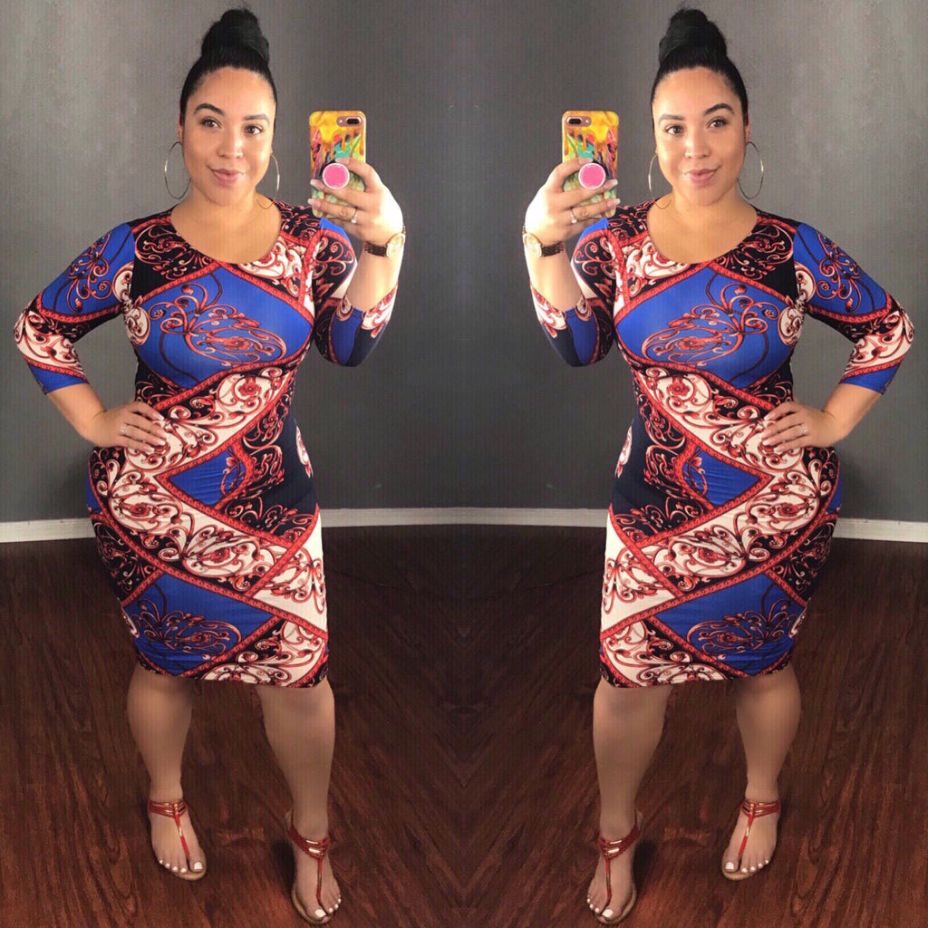 Multi Print Mid Sleeve Midi Dress