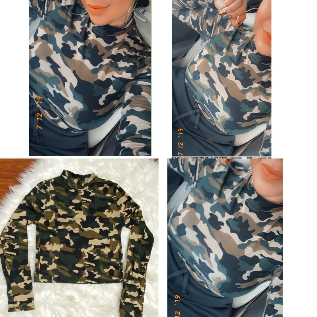 Camo Turtleneck Crop Top