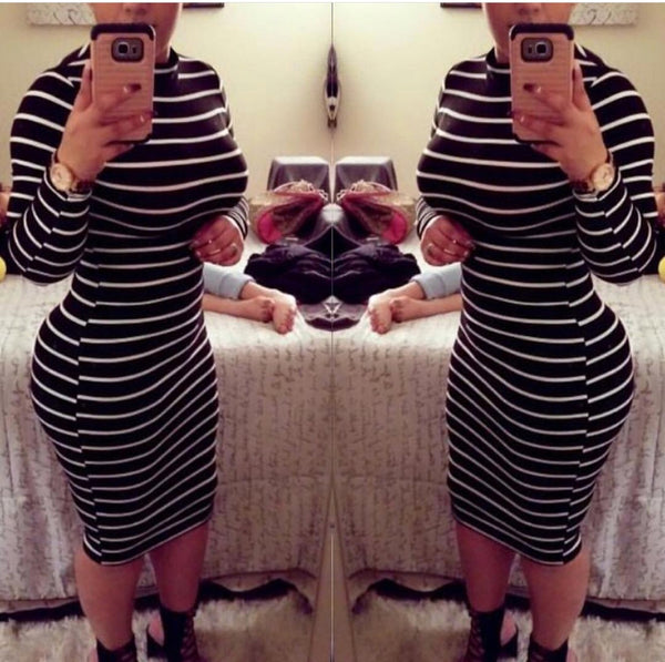 Black High Neck Striped Dress