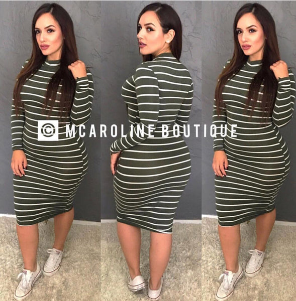 Olive High Neck Striped Dress