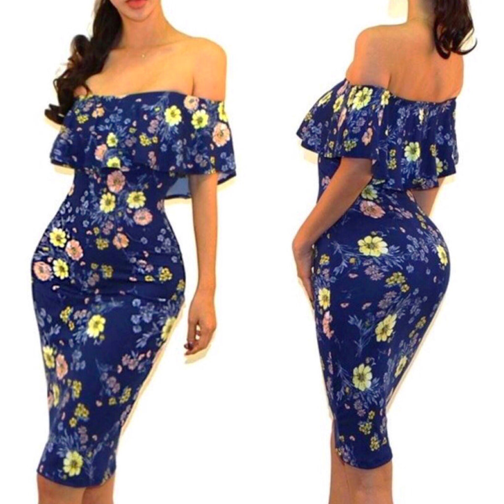 Navy Blue Floral Off Shoulder Midi Dress