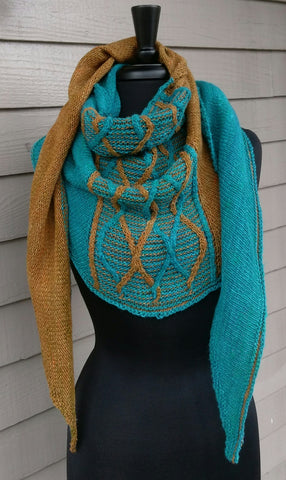 Continuo - two color cabled shawl class, Saturday 9/15 and 9/29, 9:30 - 11am