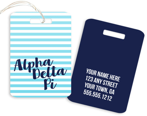 Alpha Delta Pi Stripped Luggage Tag - Suite Space Boutique