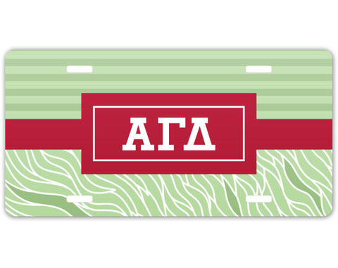 Alpha Gamma Delta License Plate