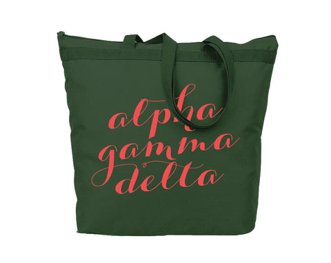 Alpha Gamma Delta Script Tote - Suite Space Boutique