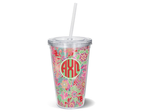 Alpha Chi Omega Floral Tumbler - Suite Space Boutique