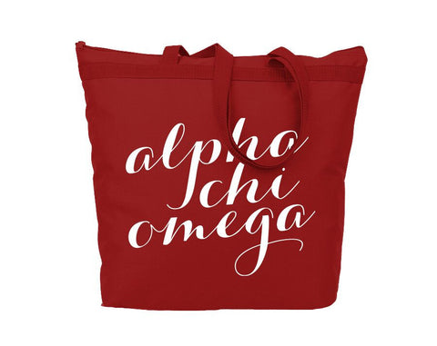 Alpha Chi Omega Script Tote - Suite Space Boutique