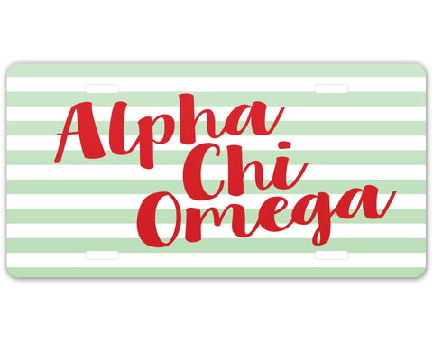Alpha Chi Omega Striped License Plate - Suite Space Boutique