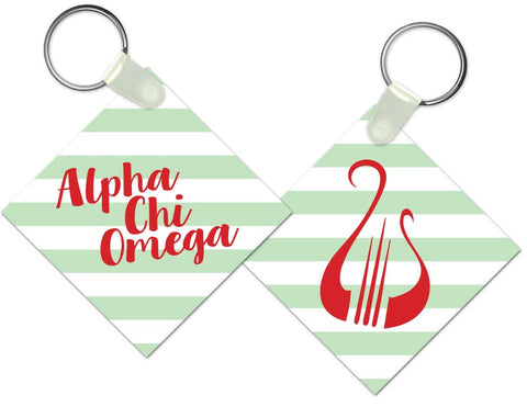 Alpha Chi Omega Striped Keychain