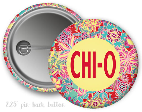 Chi Omega Floral Button