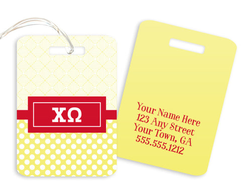 Chi Omega Geometric Luggage Tag - Suite Space Boutique