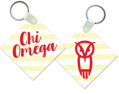 Chi Omega Striped Keychain - Suite Space Boutique