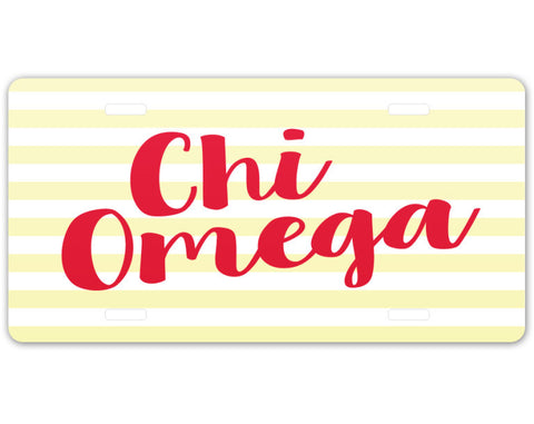 Chi Omega Striped License Plate - Suite Space Boutique