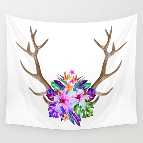Pretty Floral Antler Tapestry