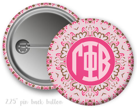 Gamma Phi Beta Aztec Monogram Button