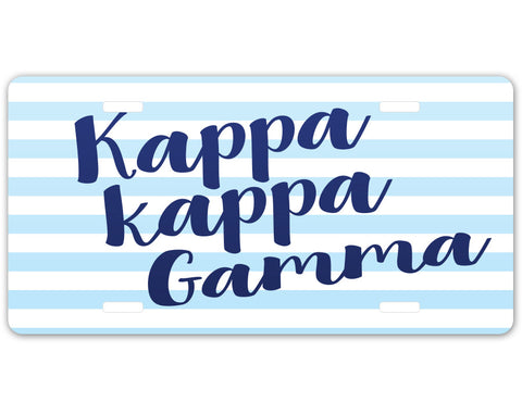 Kappa Kappa Gamma Striped License Plate