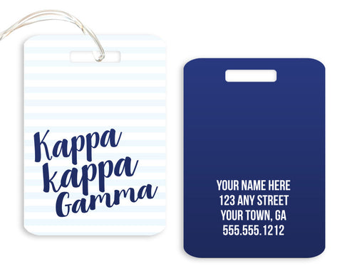 Kappa Kappa Gamma Stripped Luggage Tag