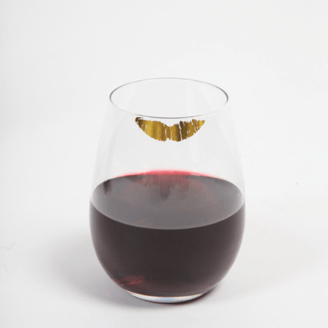 Stemless Wine Glass - Gold Lips