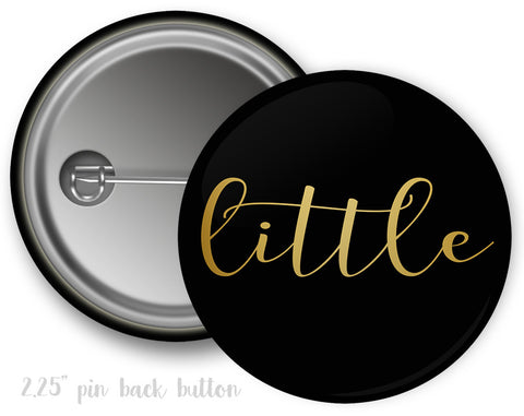 Little/Big/Grand Big Sister Black & Gold Button