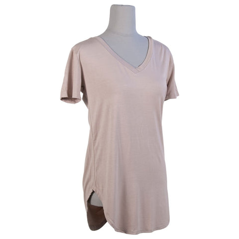 Perkins V-Neck Tee - Taupe