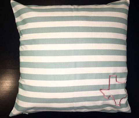 Texas Pillow - Lt Teal/Ivory Striped