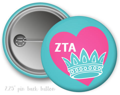 Zeta Tau Alpha Heart Crown Button