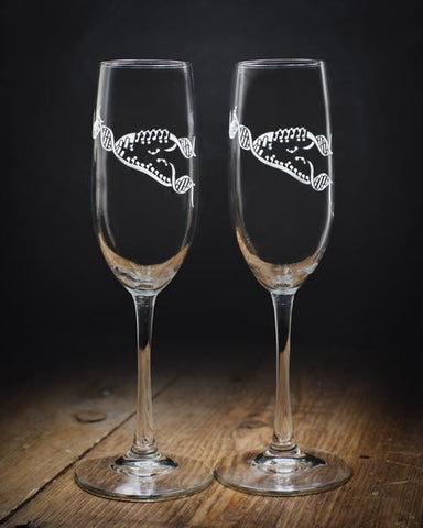 Replicating DNA Champagne Flutes (pair)