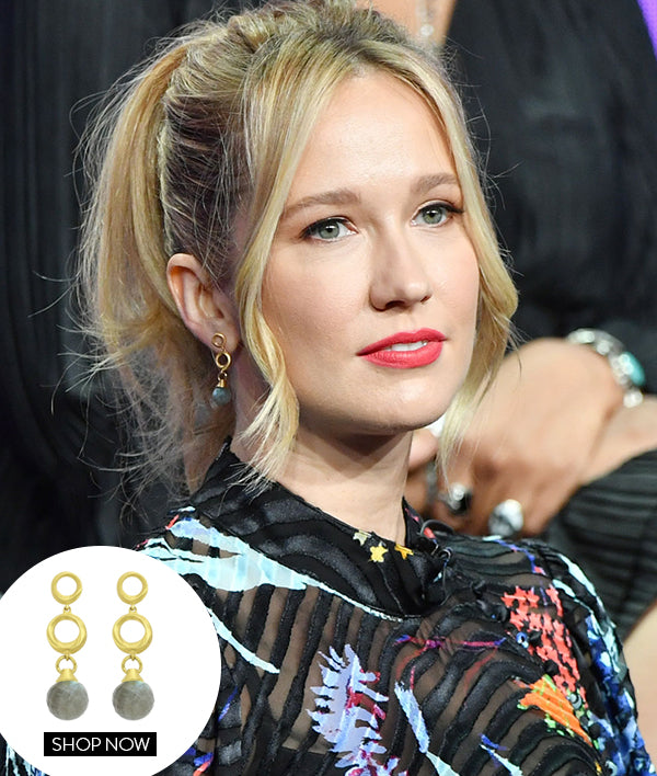 ANNA CAMP IN OUR ORIGAMI MINI DROP EARRINGS