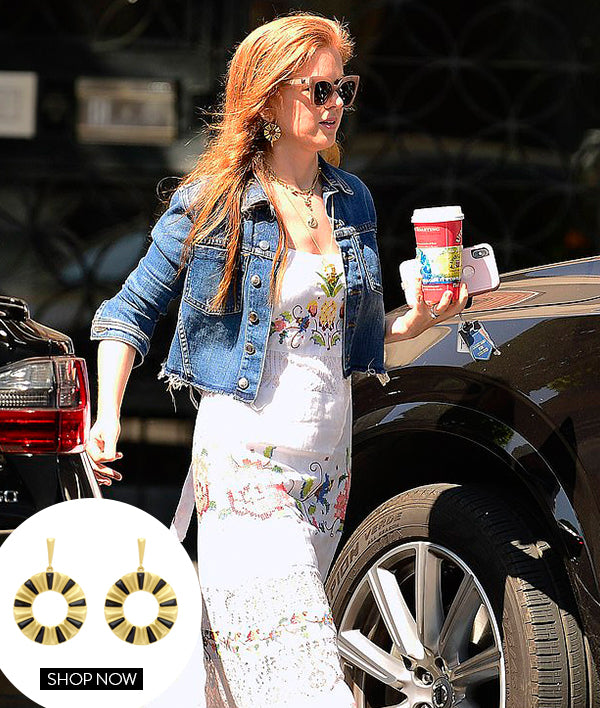 ISLA FISHER IN OUR MOSAIC EARRINGS