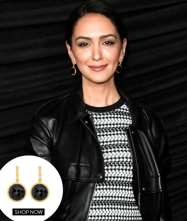 NAZANIN BONIADI IN OUR BAMBOO GEMSTONE DROP EARRING