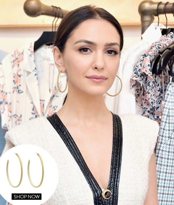 NAZANIN BONIADI IN OUR THIN TUBULAR HOOPS