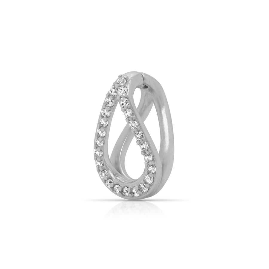 DEAN DAVIDSON JEWELRY SIGNATURE PAVE TEARDROP CHARM SILVER WHITE TOPAZ