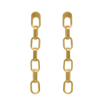 DEAN DAVIDSON JEWELRY MANHATTAN CHAIN LINK LONG DROP EARRINGS GOLD