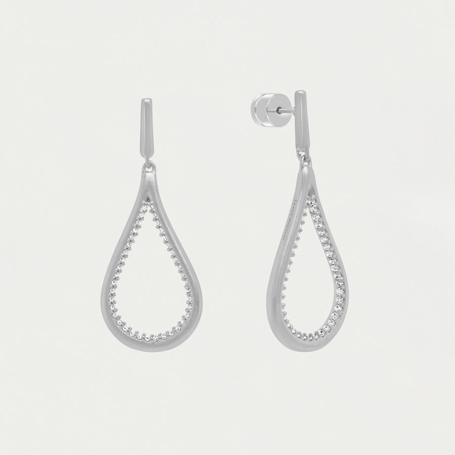 DEAN DAVIDSON JEWELRY SIGNATURE PAVE TEARDROP EARRING SILVER WHITE TOPAZ