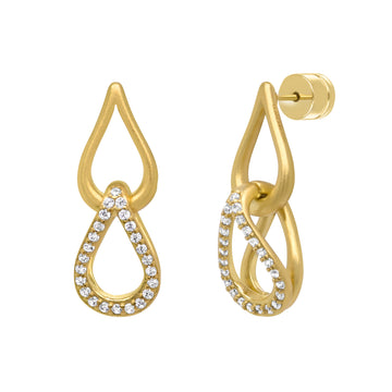 DEAN DAVIDSON JEWELRY SIGNATURE TEARDROP PAVE DROP CHARM EARRINGS GOLD WHITE TOPAZ