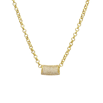 Signature Pave Tube Necklace