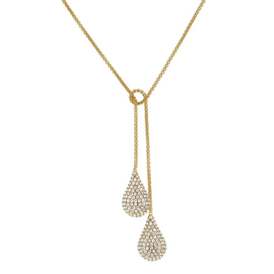 DEAN DAVIDSON JEWELRY SIGNATURE TEARDROP PAVE WRAP NECKLACE GOLD WHITE TOPAZ