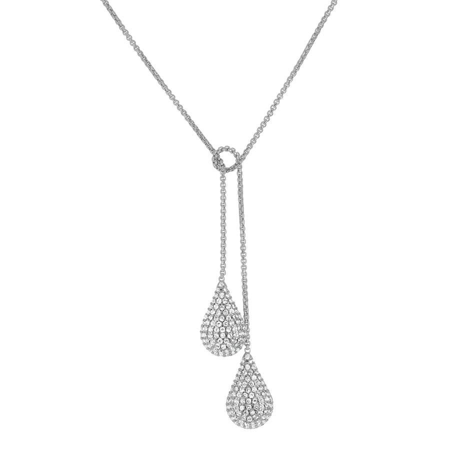DEAN DAVIDSON JEWELRY SIGNATURE TEARDROP PAVE WRAP NECKLACE SILVER WHITE TOPAZ