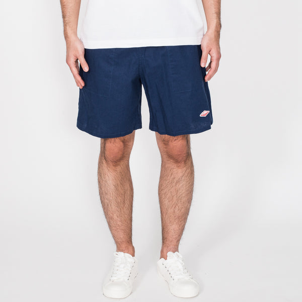 Active Lazy Shorts, Navy Cotton Linen