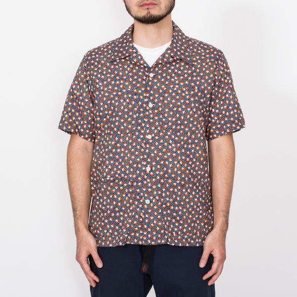 Five Pocket Island Shirt, Navy Pyramid Print