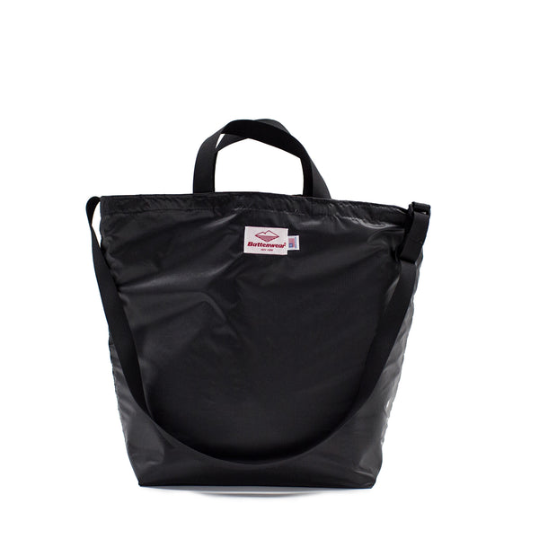 Packable Tote (with strap), Black/Black