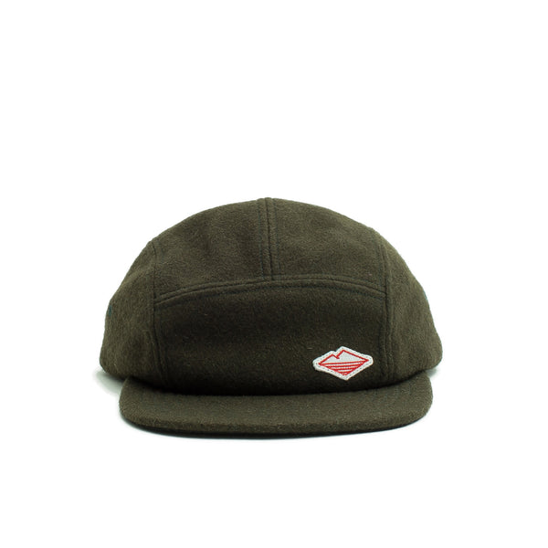 Travel Cap, Olive Melton Wool