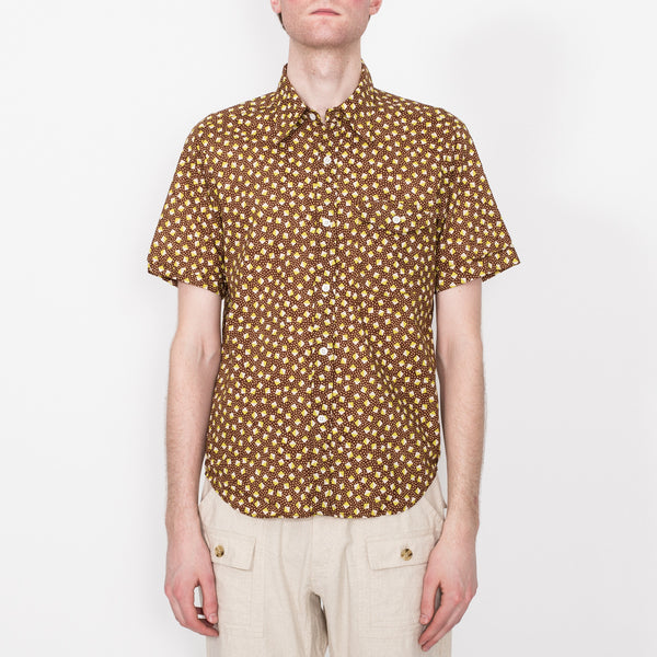 Weekend Shirt, Brown Pyramid Print