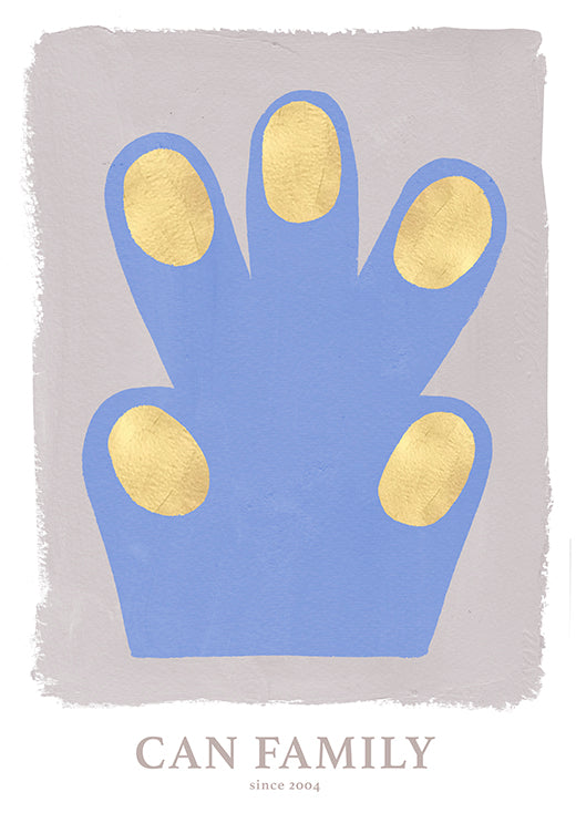 Hand/Paw poster, blue 50 x 70