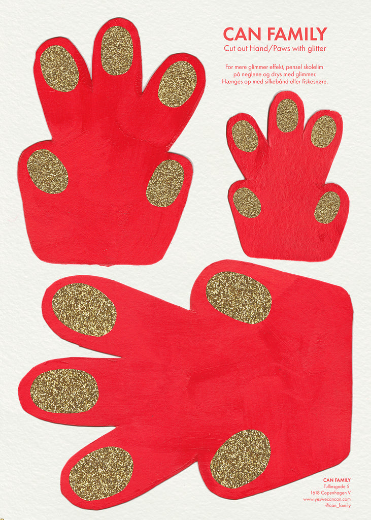 Can Family Cut out's Hand/Paw Red