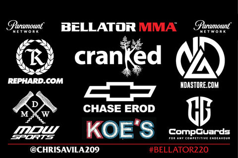 Bellator 220 MacDonald vs Fitch SAP Center in San Jose, CA featuring Chris Avila Live on DAZN Sponsors Represent Ltd. RepHard.com Nick Diaz Academy Cranked Naturals MDW Sports Chase ERod CompGuards KOE's