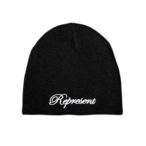 The Classic Script Embroidered Beanie [BLACK X WHITE] LIMITED BATCH